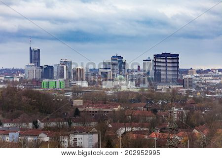 Essen Germany Europe - NOV 17 2015: High rise buildings form the skyline of inner city of Essen North Rhine-westphalia Germany Europe on Nov 17 2015