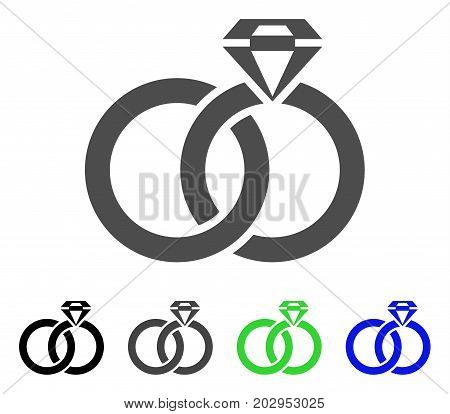 Wedding Rings With Gem icon. Vector illustration style is a flat iconic wedding rings with gem symbol with black, grey, green, blue color variants. Designed for web and software interfaces.