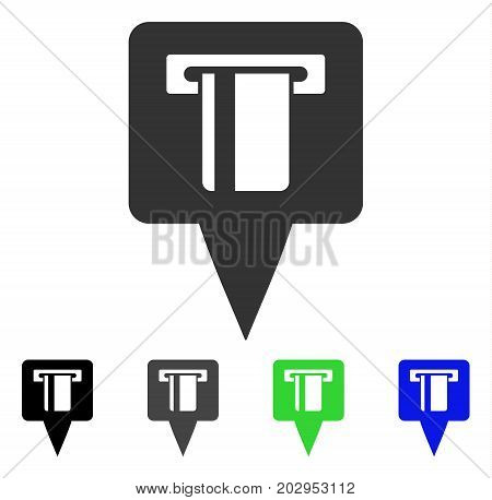 ATM Machine Map Pointer icon. Vector illustration style is a flat iconic atm machine map pointer symbol with black, gray, green, blue color variants. Designed for web and software interfaces.