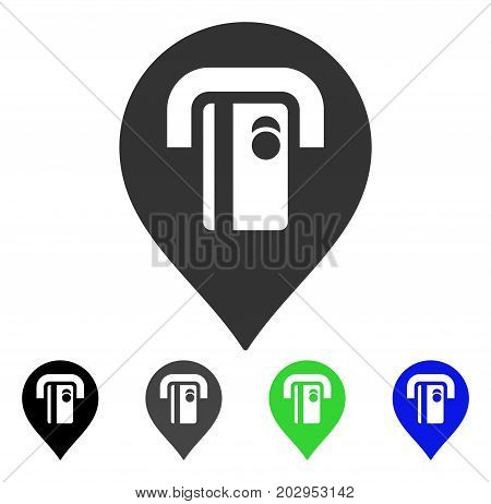 ATM Machine Pointer icon. Vector illustration style is a flat iconic atm machine pointer symbol with black, grey, green, blue color variants. Designed for web and software interfaces.