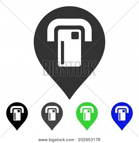 ATM Map Pointer icon. Vector illustration style is a flat iconic atm map pointer symbol with black, gray, green, blue color variants. Designed for web and software interfaces.