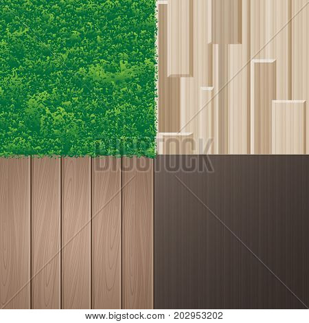 Vector set of natural textures for interior in eco minimalist style, isolated, close-up