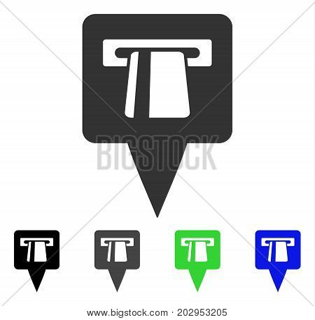 ATM Pointer icon. Vector illustration style is a flat iconic atm pointer symbol with black, gray, green, blue color variants. Designed for web and software interfaces.