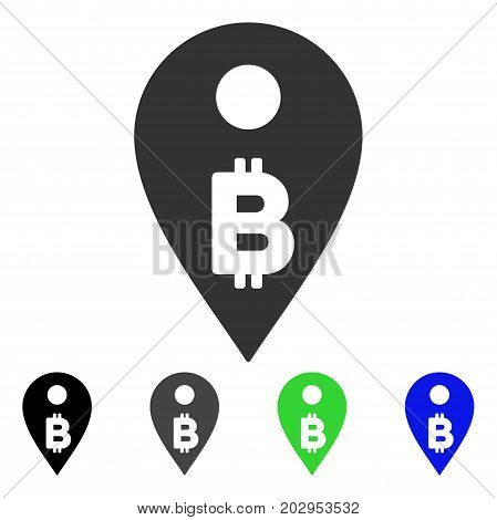 Bitcoin Map Marker icon. Vector illustration style is a flat iconic bitcoin map marker symbol with black, gray, green, blue color versions. Designed for web and software interfaces.