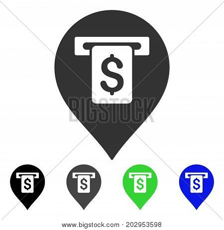 Cash Machine Pointer icon. Vector illustration style is a flat iconic cash machine pointer symbol with black, gray, green, blue color variants. Designed for web and software interfaces.