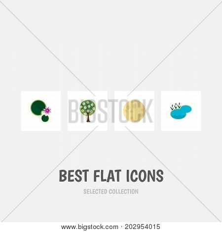 Flat Icon Natural Set Of Lotus, Lunar, Tree And Other Vector Objects