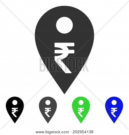 Rupee Map Marker icon. Vector illustration style is a flat iconic rupee map marker symbol with black, grey, green, blue color versions. Designed for web and software interfaces.