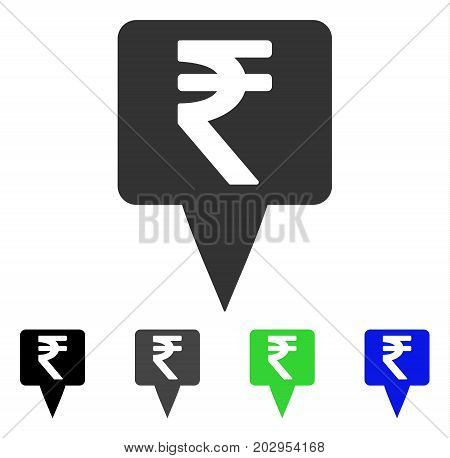 Rupee Map Pointer icon. Vector illustration style is a flat iconic rupee map pointer symbol with black, grey, green, blue color versions. Designed for web and software interfaces.