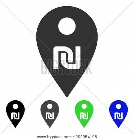 Shekel Map Marker icon. Vector illustration style is a flat iconic shekel map marker symbol with black, grey, green, blue color variants. Designed for web and software interfaces.