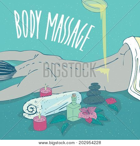 Beautiful naked girl lying on her stomach. Oil or cream is poured on her back. Nearby are small containers such as jars and bottles. Lettering Body Massage