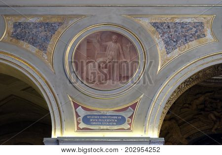 ROME, ITALY - SEPTEMBER 03: Fresco painting in Church of St Lawrence at Lucina, Rome, Italy on September 03, 2016.