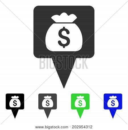 Treasure Map Pointer icon. Vector illustration style is a flat iconic treasure map pointer symbol with black, grey, green, blue color variants. Designed for web and software interfaces.