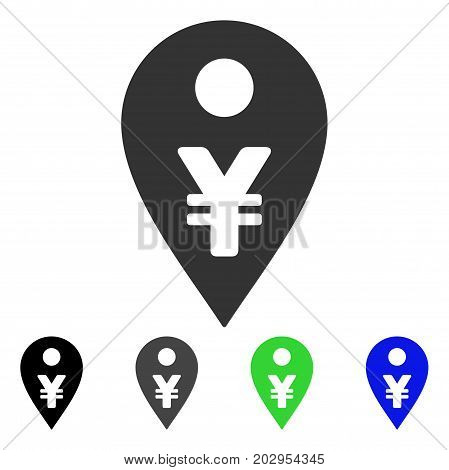 Yen Map Marker icon. Vector illustration style is a flat iconic yen map marker symbol with black, grey, green, blue color variants. Designed for web and software interfaces.