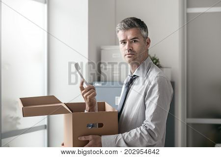 Office Worker Receiving A Surprise Call In A Box