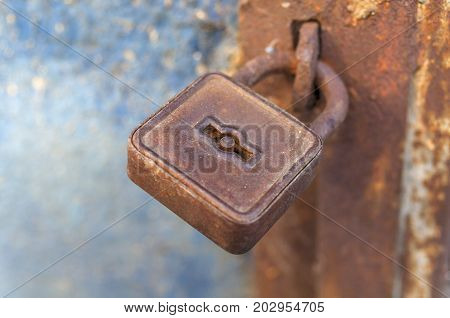 Rusty padlock on the old metal door