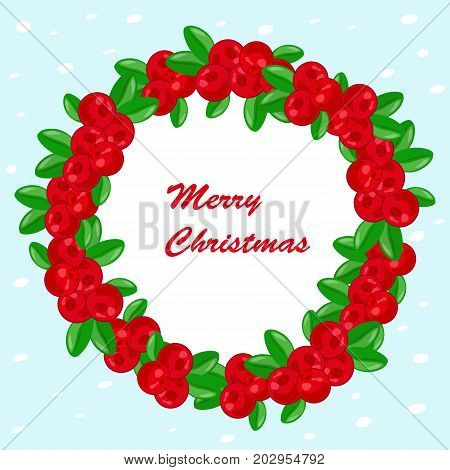 Christmas wreath with red berries of a cowberry on white background. Lingonberry