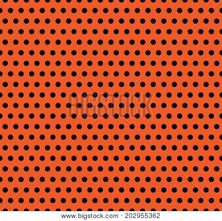 Halloween vector polka dot background. Orange and black dark endless seamless texture. Thanksgivings day cute pattern