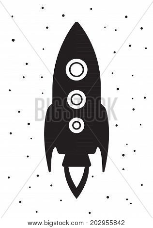 Children s poster in Scandinavian style picture of a rocket. Flying in space. Vector illustration in flat style