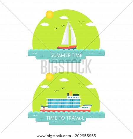 Collection Of Nautical Vehicles: Sail Boat, Ship, Vessel, Luxury