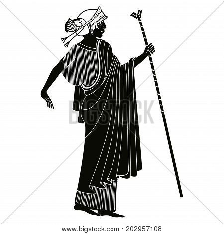 Vector illustration in ancient Greek style. Greek woman. Goddess Artemis with a staff.