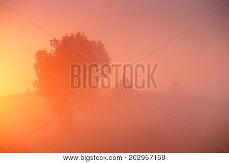 Haystacks And Tree In Misty Autumn Morning Sunrise