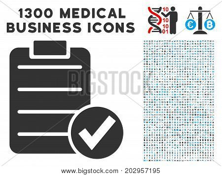Approve Test grey vector icon with 1300 clinic commercial icons. Set style is flat bicolor light blue and gray pictograms.