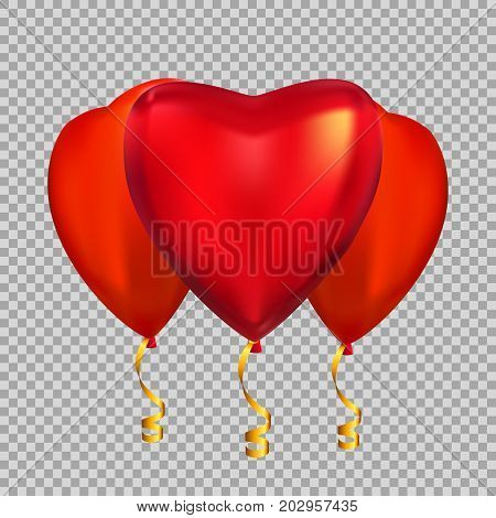 Colour Glossy  Heart Shape Helium Balloons Isolated on Transparent Background.. Vector Illustration EPS10