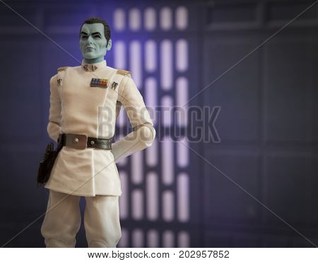 Studio image of Star Wars character Imperial Grand Admiral Thrawn Hasbro Black Series action figure