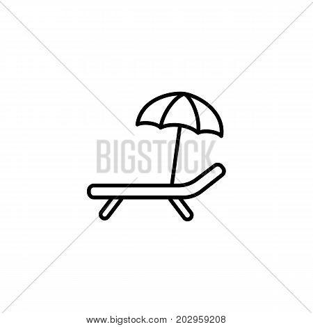 Deckchair With Umbrella Icon On White Background