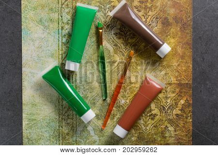 Colours Of The Nature - Mix Of Green And Brown - Home Or Office Interieur Design Concept, Tubes With