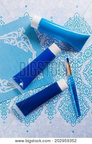 Blue, Indigo, Cobalt Colours - Home Interieur Design Concept, On Blue-white Ornament