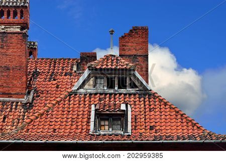 Old German red tile roof. Baltiysk Pillau previously Kaliningrad oblast Russia