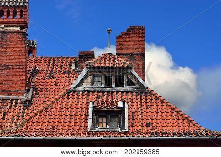 Old German red tile roof. Baltiysk Pillau previously Kaliningrad oblast Russia