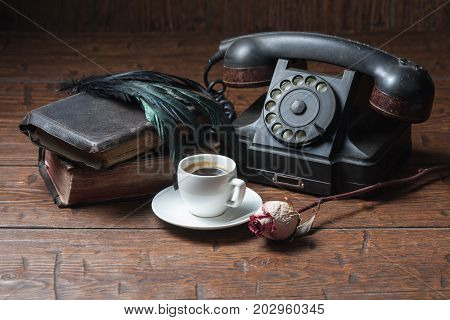 Cup Of Coffee, Dry Rose And Old Telephone