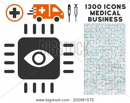 Bionic Eye Processor gray vector icon with 1300 health care commerce pictograms. Collection style is flat bicolor light blue and gray pictograms.