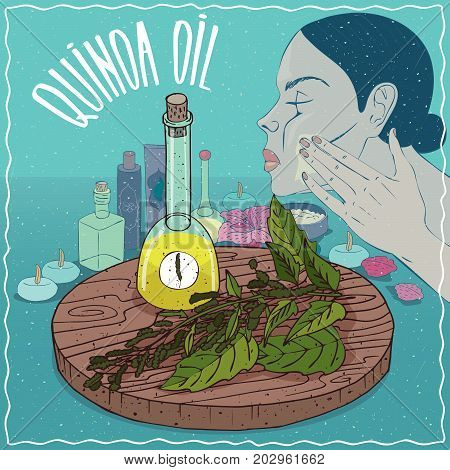 Glass Decanter of Quinoa oil and Quinoa plant. Girl applying facial mask on face. Natural vegetable oil used for skin care