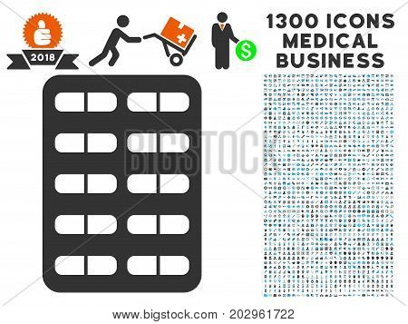 Blister grey vector icon with 1300 medicine commerce pictograms. Collection style is flat bicolor light blue and gray pictograms.