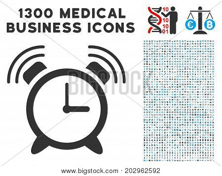 Buzzer grey vector icon with 1300 doctor business pictographs. Collection style is flat bicolor light blue and gray pictograms.