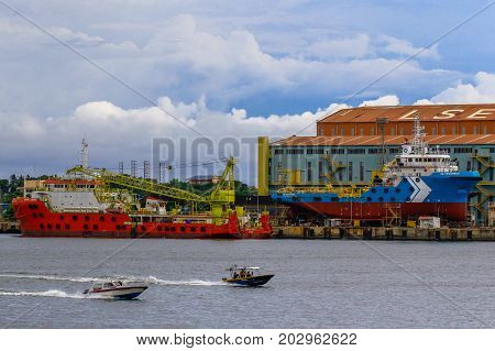 Labuan,Malaysia-Aug 30,2017:Ships in the dock dry under repairing in shipyard at Labuan,Malaysia.