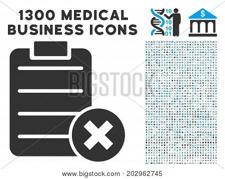 Cancel Test gray vector icon with 1300 medicine business pictograms. Set style is flat bicolor light blue and gray pictograms.
