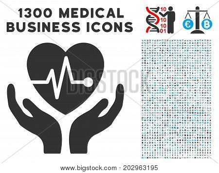 Cardiology Care Hands gray vector icon with 1300 medical commerce pictograms. Set style is flat bicolor light blue and gray pictograms.