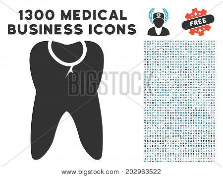 Caries Tooth gray vector icon with 1300 clinic commerce pictograms. Clipart style is flat bicolor light blue and gray pictograms.