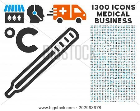 Celsius Mercury Thermometer gray vector icon with 1300 doctor commerce symbols. Collection style is flat bicolor light blue and gray pictograms.