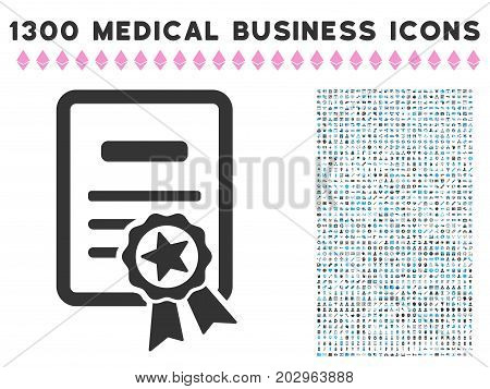 Certificate grey vector icon with 1300 medicine commercial pictographs. Clipart style is flat bicolor light blue and gray pictograms.