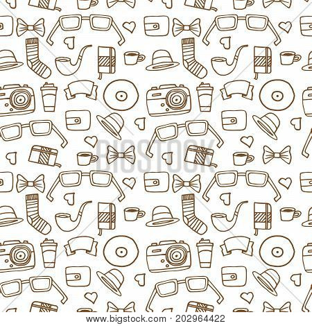 Seamless Hipster pattern in white color with retro and vintage symbols. Modern fashionable background with a brown stroke. Cartoon hand draw style