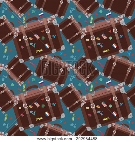 Seamless hipster pattern with retro suitcase in blue color. Modern fashionable background with vintage travel baggage. Cartoon hand draw style