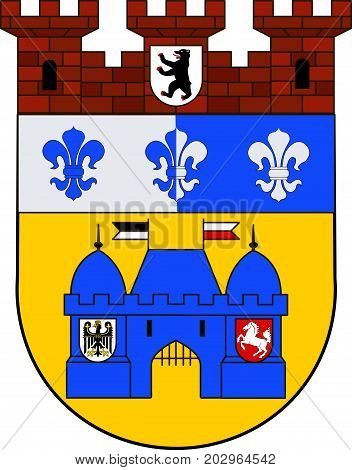 Coat of arms of Charlottenburg-Wilmersdorf in Berlin Germany. Vector illustration from the