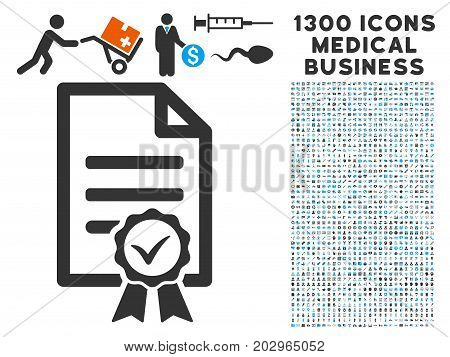 Contract Document grey vector icon with 1300 medical commerce icons. Set style is flat bicolor light blue and gray pictograms.