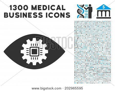Cyborg Eye Lens gray vector icon with 1300 healthcare commerce pictograms. Clipart style is flat bicolor light blue and gray pictograms.