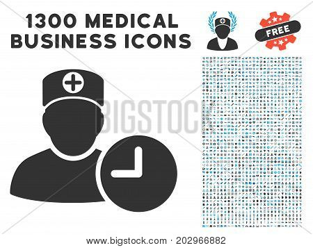 Doctor Appointment Clock grey vector icon with 1300 medicine commerce pictographs. Collection style is flat bicolor light blue and gray pictograms.